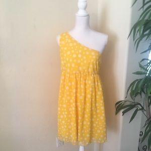 Yellow Poka Dots One Shoulder Dress